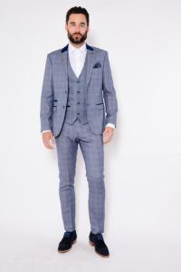 HILTON - Blue Tweed Suit With Single Breasted Waistcoat