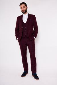 MAGNUM - Wine Windowpane Check Three Piece Suit