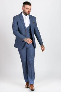 Matthew Sky Blue Tweed Check Three Piece Suit