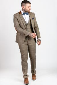 DX7 - Tan Tweed Check Three Piece Suit