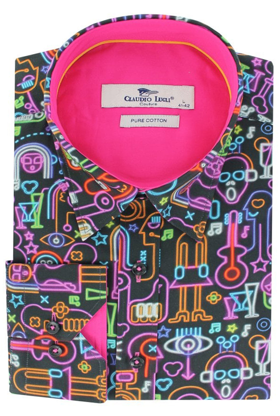 Claudio Lugli Neon Party Pattern Shirt
