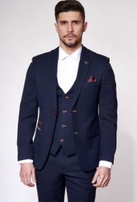 JD4 - Navy Contrast Trim Three Piece Suit
