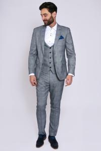 JERRY - Grey Check Suit With Single Breasted Waistcoat
