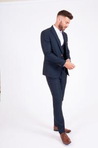 Marc Darcy Max Navy Three Piece Suit With Contrast Buttons