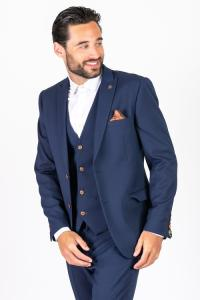 Marc Darcy Max Royal Blue Three Piece Suit With Contrast Buttons