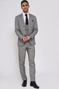 ROSS - Grey Check Three Piece Suit