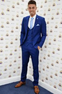STEVE - Navy Graph Check Three Piece Suit As Seen On Tristan Jones