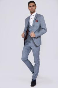 YORK - Powder Blue Three Piece Check Suit